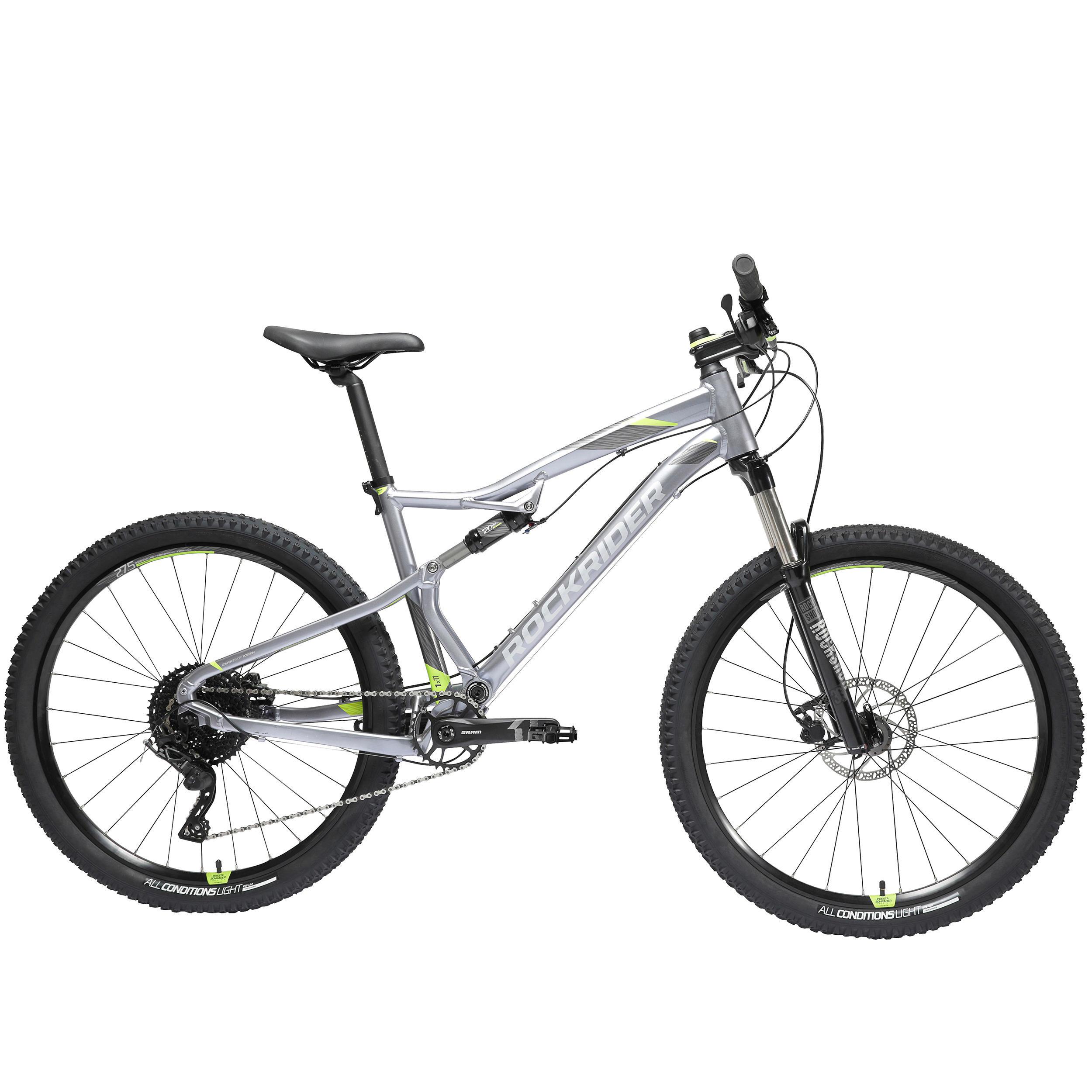 "Bicicleta De Montaña Doble Suspension Rockrider St 530S 27,5"" 9V Negro Rojo"