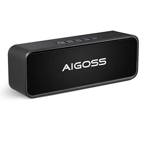 Aigoss Altavoz Bluetooth Portátil Sonido Estéreo Efecto de Doble Bajo, Speaker Bluetooth 5.0 Manos Libres y FM