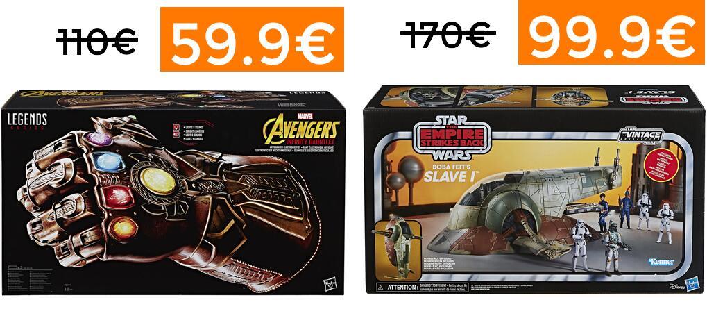Hasbro réplica guantelete Thanos 59.9€ // Hasbro Slave I de Boba Fett 99.9€