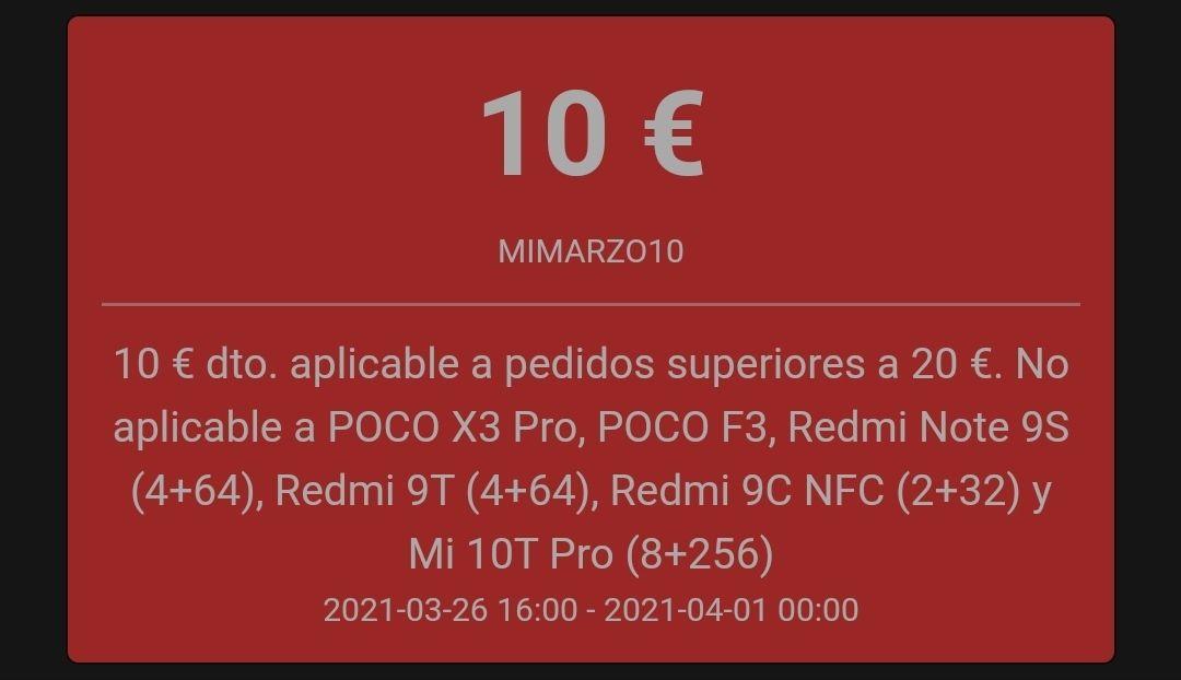 10€ de descuento por compras superiores a 20€