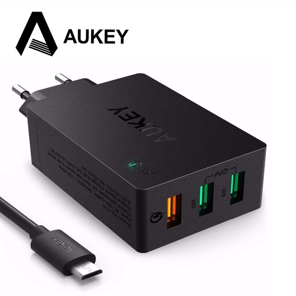 AUKEY cargador 3 puertos USB 1 de carga rápida 3,0