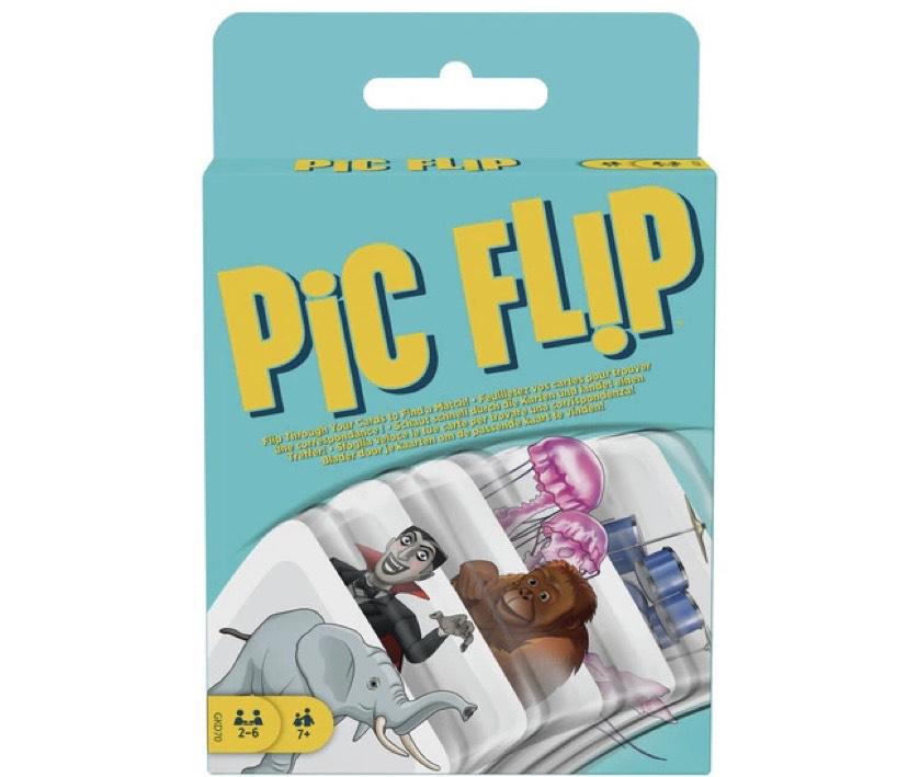Mattel Games, juego de cartas para niños Pic Flip