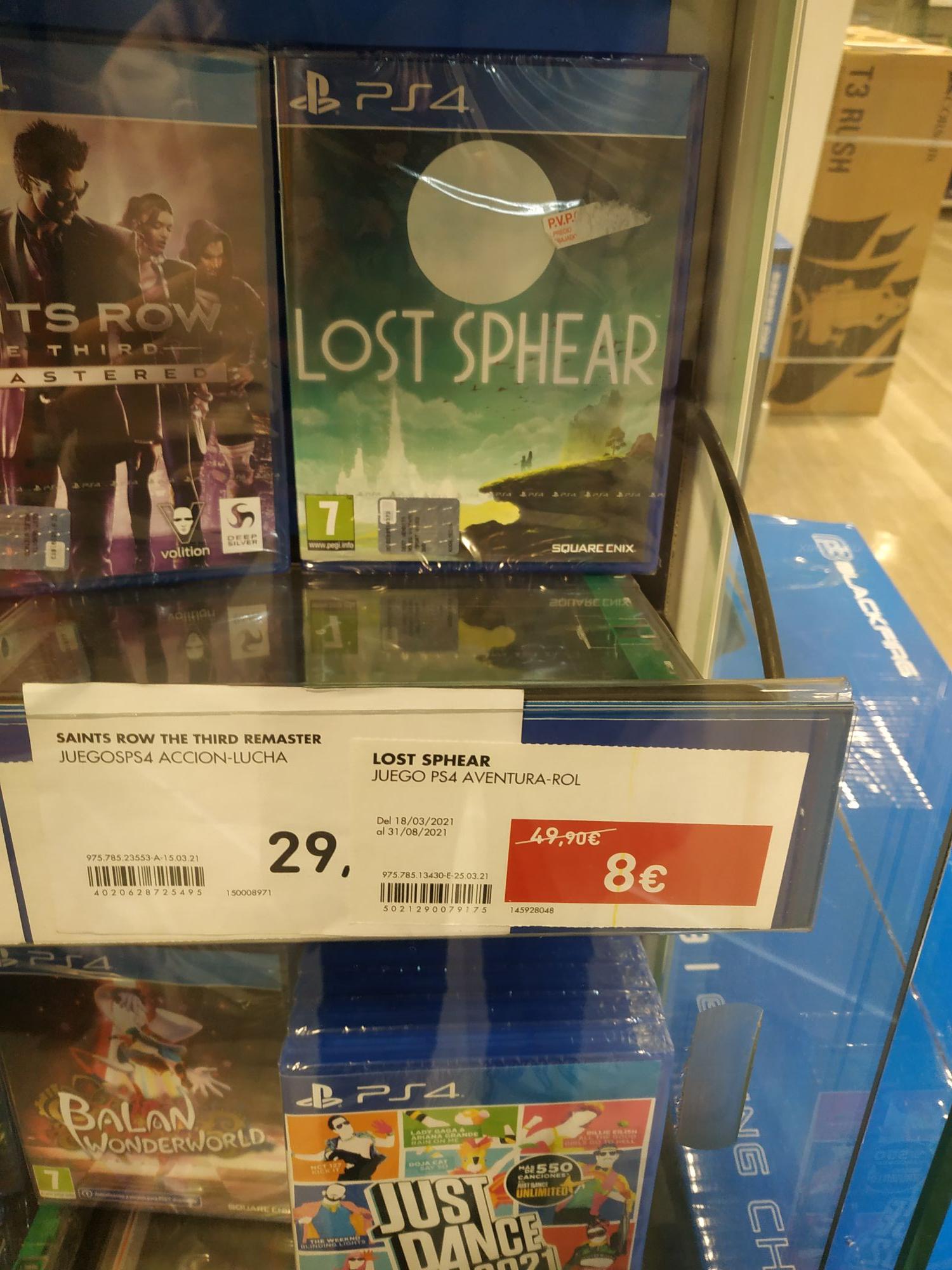 Lost Sphear PS4 (entre otros) a 8€ en ECI Madrid- Callao