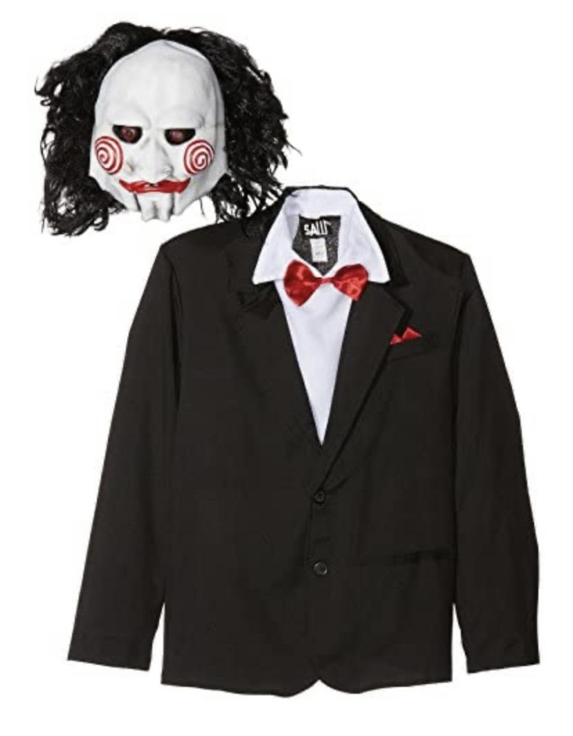 Disfraz De Saw Jigsaw Con Careta, Americana Camisa Y Falso Chaleco,