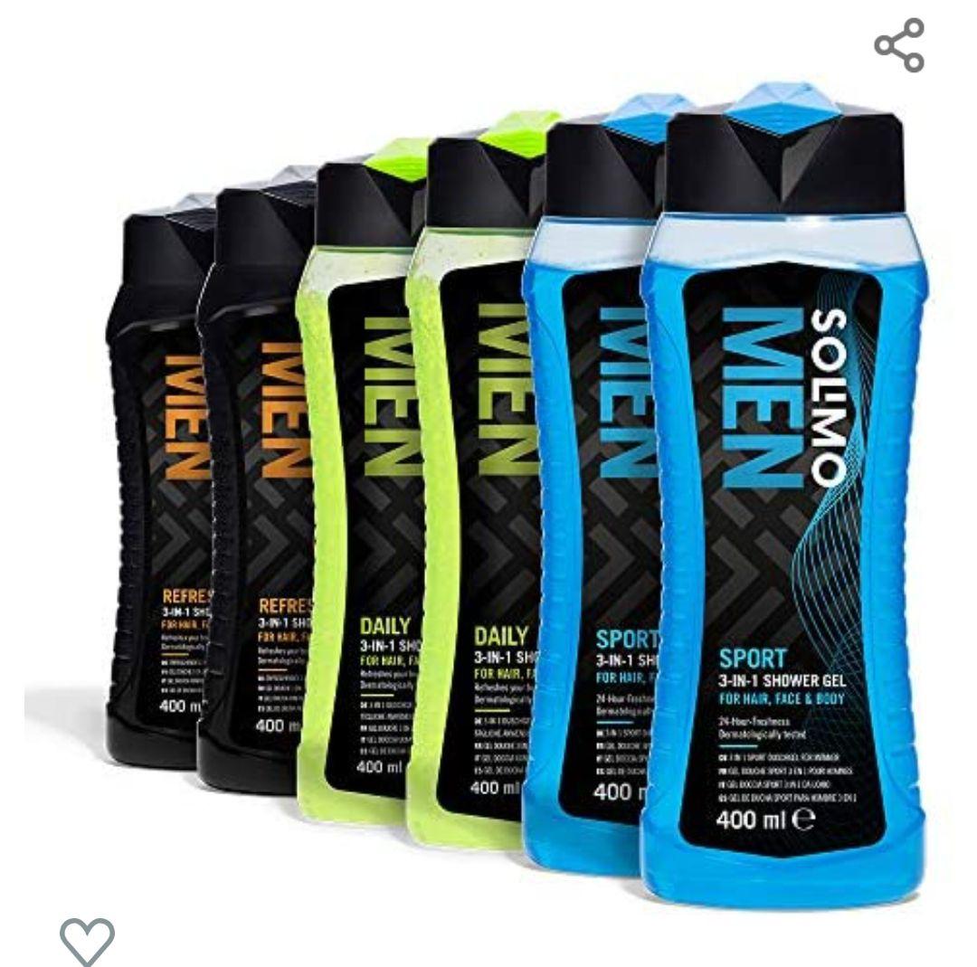 Solimo Gel de ducha para hombre 3 en 1 (Cuerpo, cara y cabello) - Paquete de 6 (6 Botellas x 400 ml)