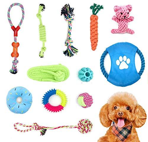 12 Juguetes para Perros Pequeños, Masticar Cuerda 100% Algodón Natural Prevención del Aburrimiento Limpieza y Entrenamiento de Dientes.