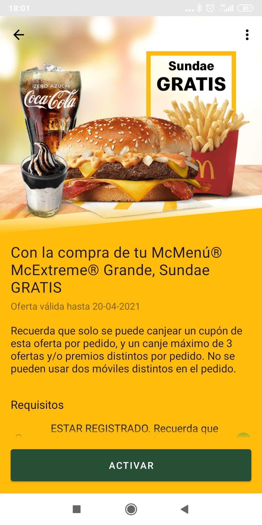 SUNDAE GRATIS en MC Donald's comprando MC EXTREME menú grande