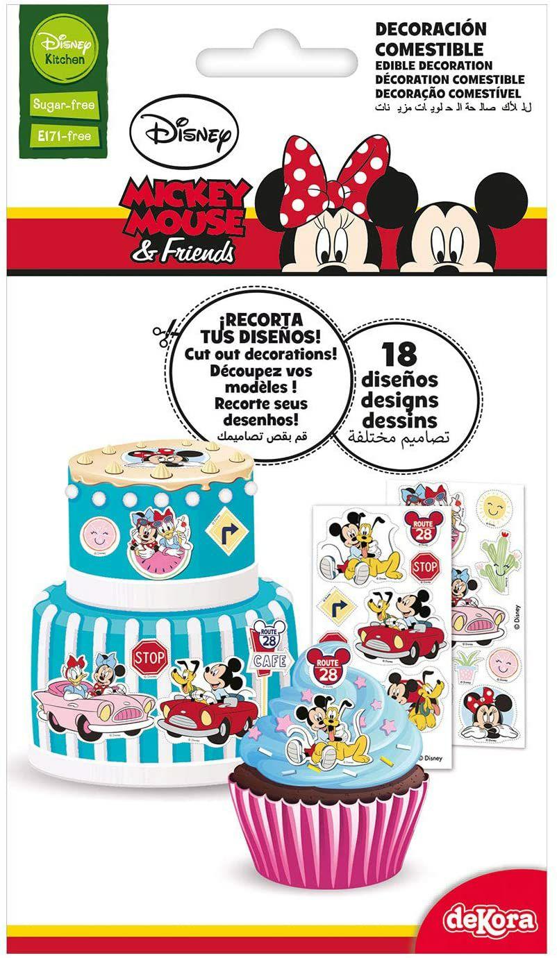 Dekora - Adornos Comestibles de Disney Mickey Mouse y Minnie para Cupcakes, Muffins, Bizcochos o Tartas Infantiles Sin Azucar