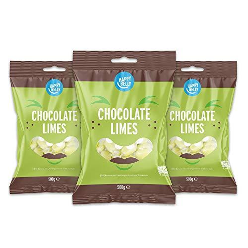 Happy Belly - Caramelos con sabor a lima y chocolate (3x500g).