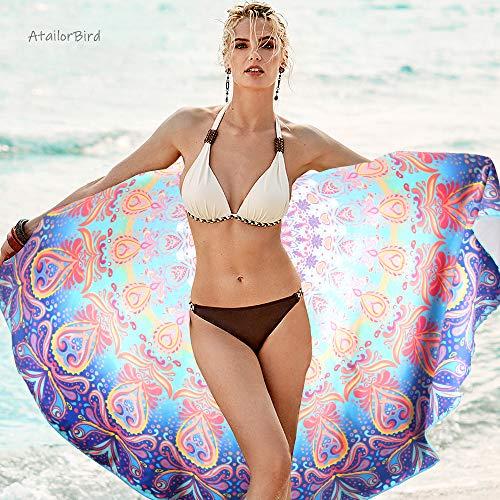Toalla de Playa de Microfibra,Diámetro 150cm, Mandala Esterilla, Seca Rápidamente, Absorbente,Prevención de Arena. Varios colores