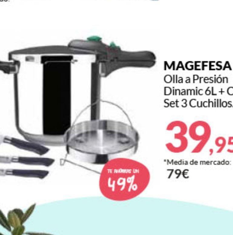 MAGEFESA OLLA A PRESION 6L + CESTILLO+SET 3 CUCHILLOS