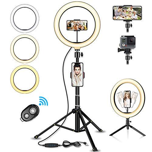 "Luz de Anillo LED,Aro de Luz de 10.2"" con Trípode Control Remoto Bluetooth,3 Modos de Luces 10 Brillos Regulable para Móvil Selfie."