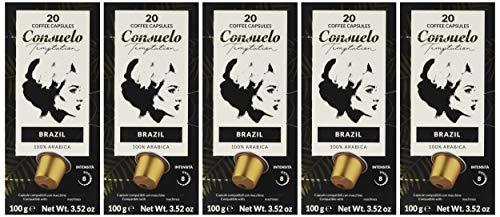 Consuelo - 100 Cápsulas de café de Brasil compatibles con cafetera Nespresso