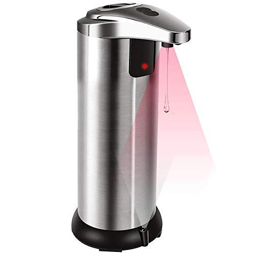 Dispensador de jabón automático, 250 ml, sin Contacto, eléctrico, Acero Inoxidable, Impermeable, Sensor Infrarrojo.