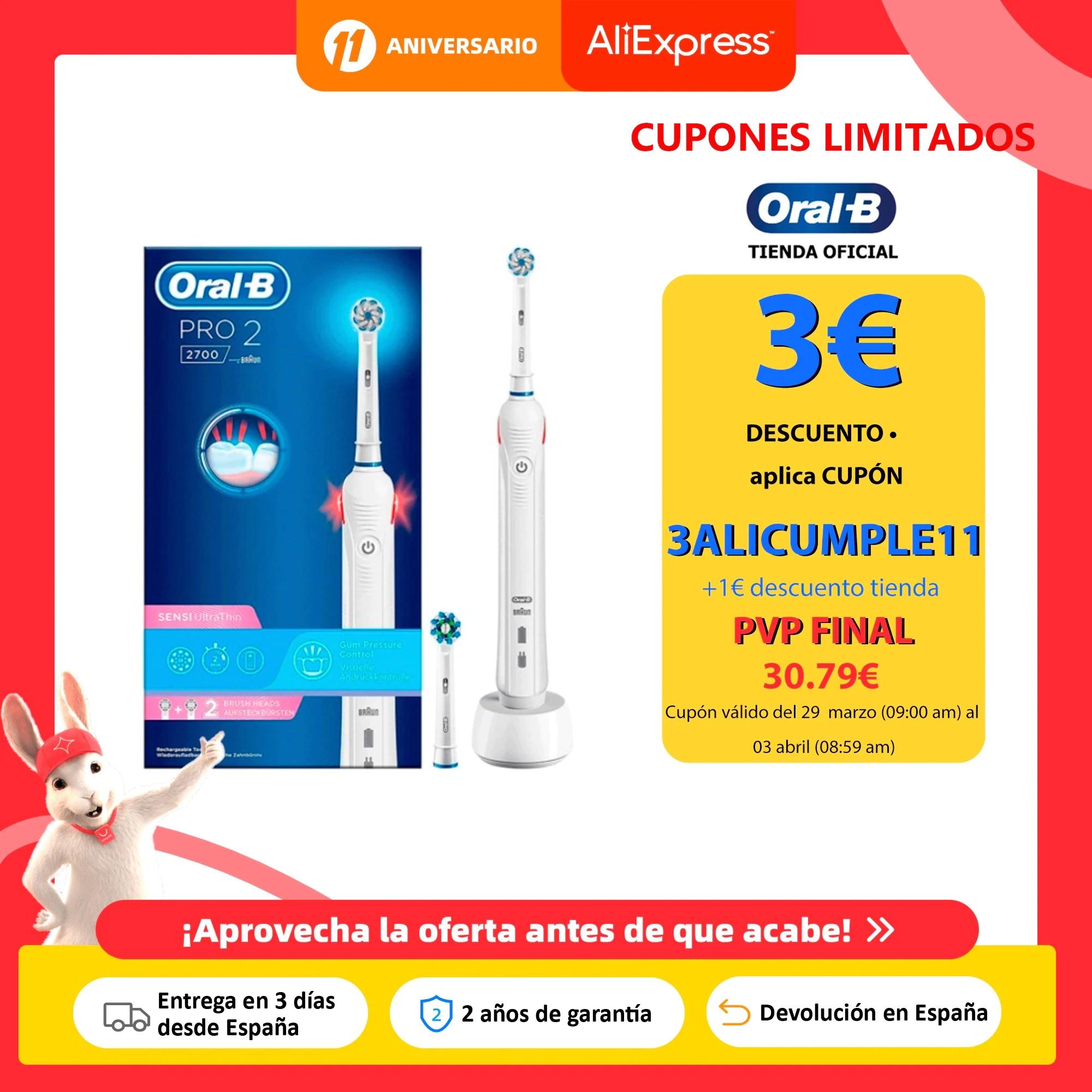 Oral B Pro 2 2700, Cepillo de dientes eléctrico recargable, desde España