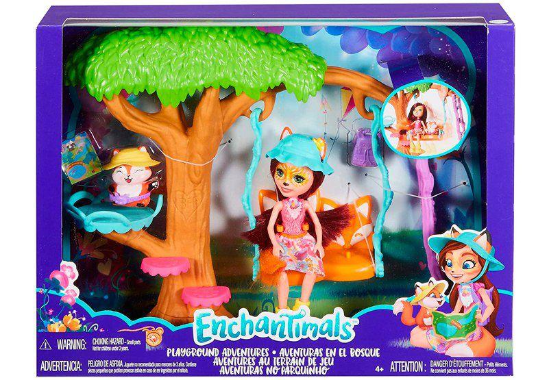 Enchantimals Muñeca Felicity Fox con mascota Flix en jardín divertido