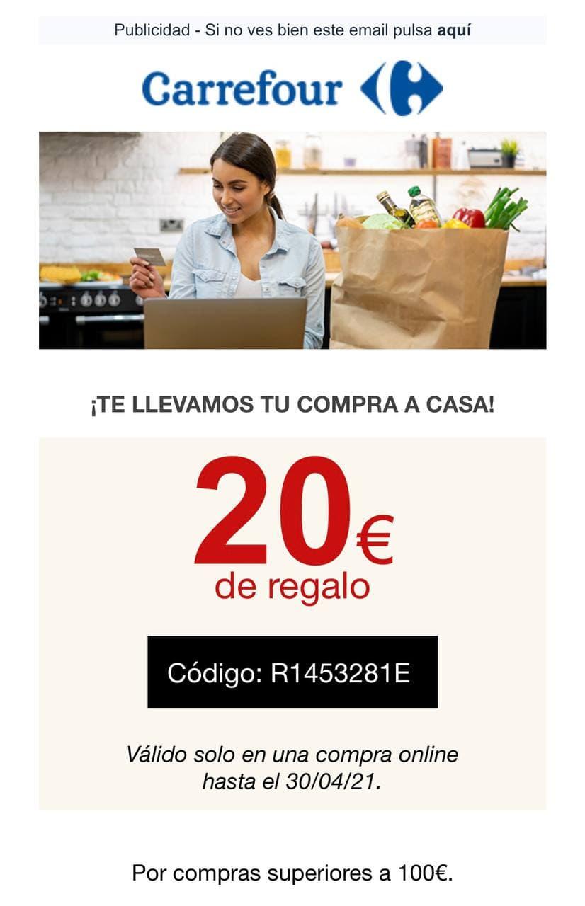 20€ de descuento en Supermercado Carrefour por compra mínima de 100 €.