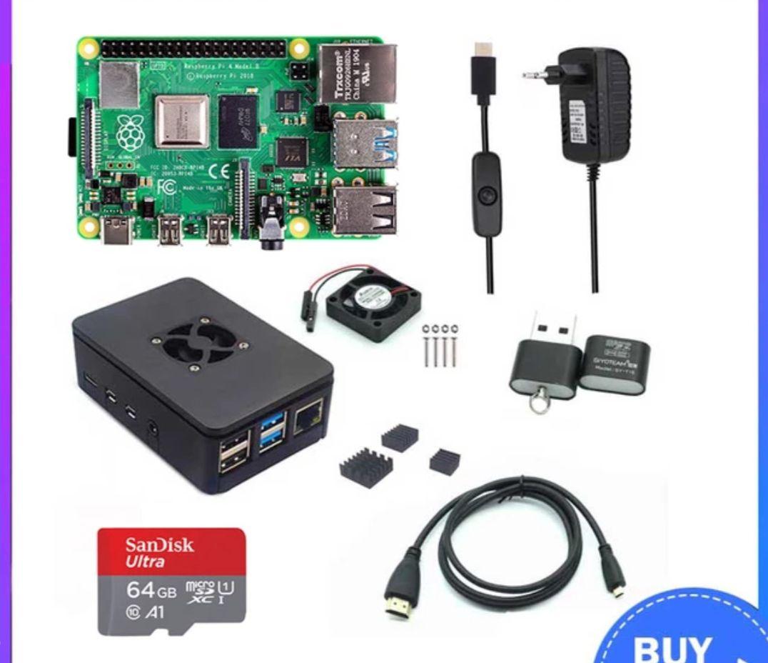 Raspberry Pi 4 Modelo B 2/4GB RAM + funda + ventilador + disipador de calor + adaptador de corriente + tarjeta SD de 32/64 GB + Cable HDMI