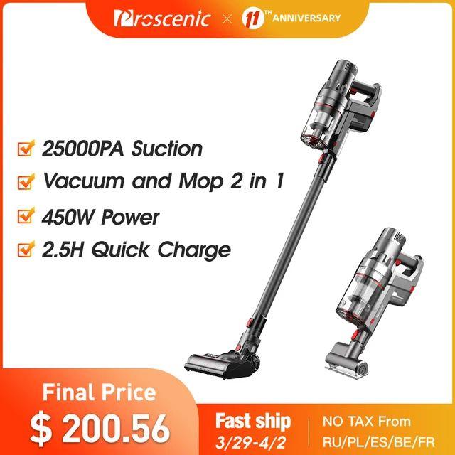 Proscenic P11 Aspiradora Sin Cable Potente con 450W/25Kpa