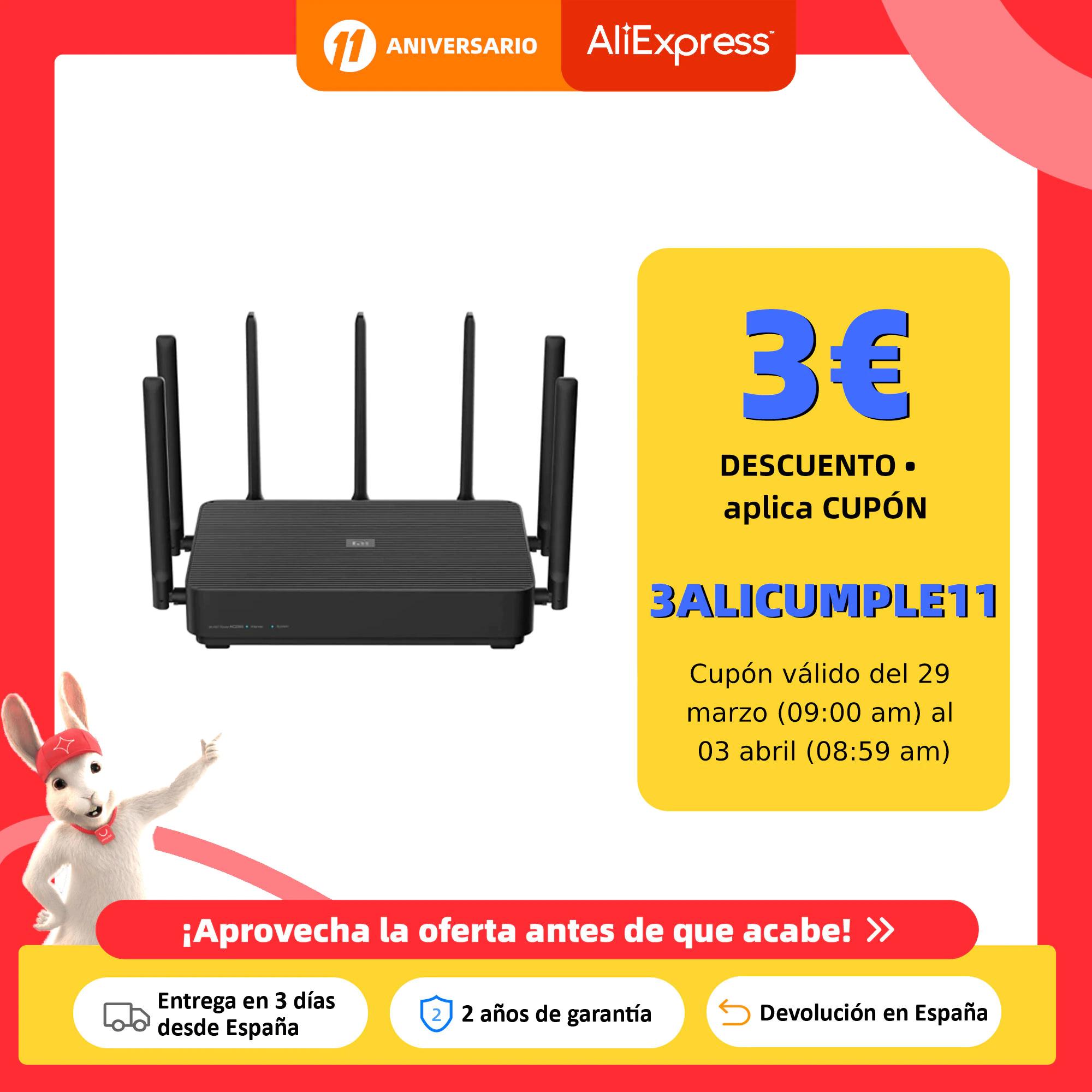 Xioami Mi Aiot Router AC2350, 2200 Mbps, Qualcomm CPU, 7 antenas externas, ROM 16 MB, RAM 128 MB - Desde España