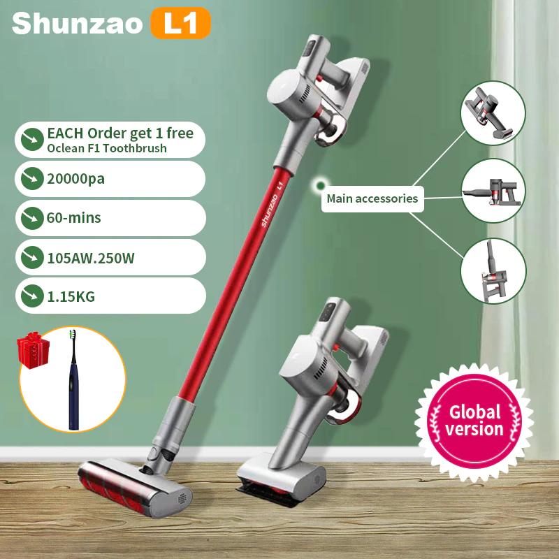 Shunzao Aspiradora de mano inálambrica L1 20000Pa 105AW sólo 1.15 kg de peso - Desde España