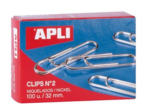 Caja con 100 clips niquelados 32mm por sólo 0,57€
