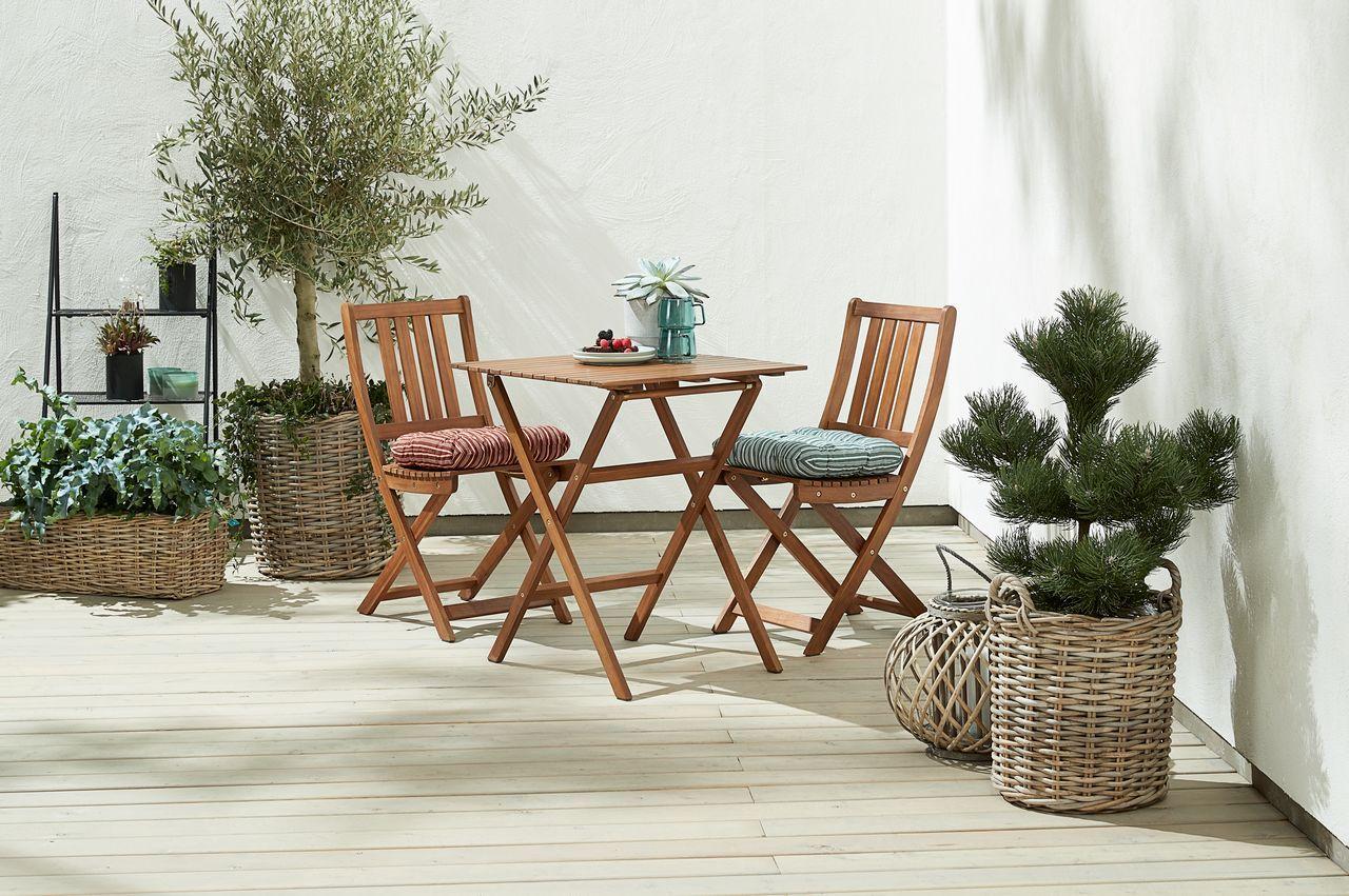 Conjunto de mesa + 2 sillas de madera para terraza