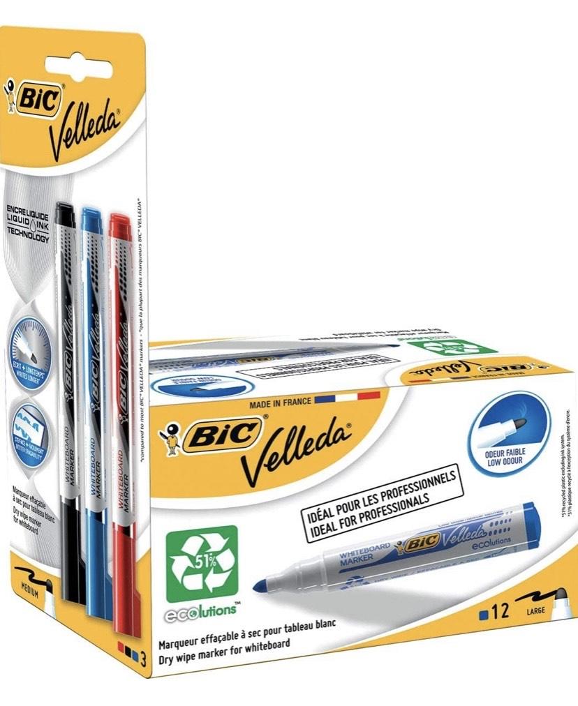 Pack de 12 marcadores de pizarra blanca y 3 reservas de tinta, color azul