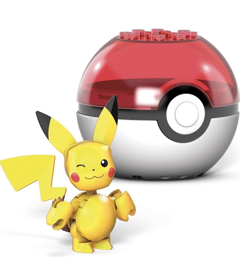 Mega Construx- Pokémon Pikachu Poké Ball y Figura para Construir, 16 Piezas,