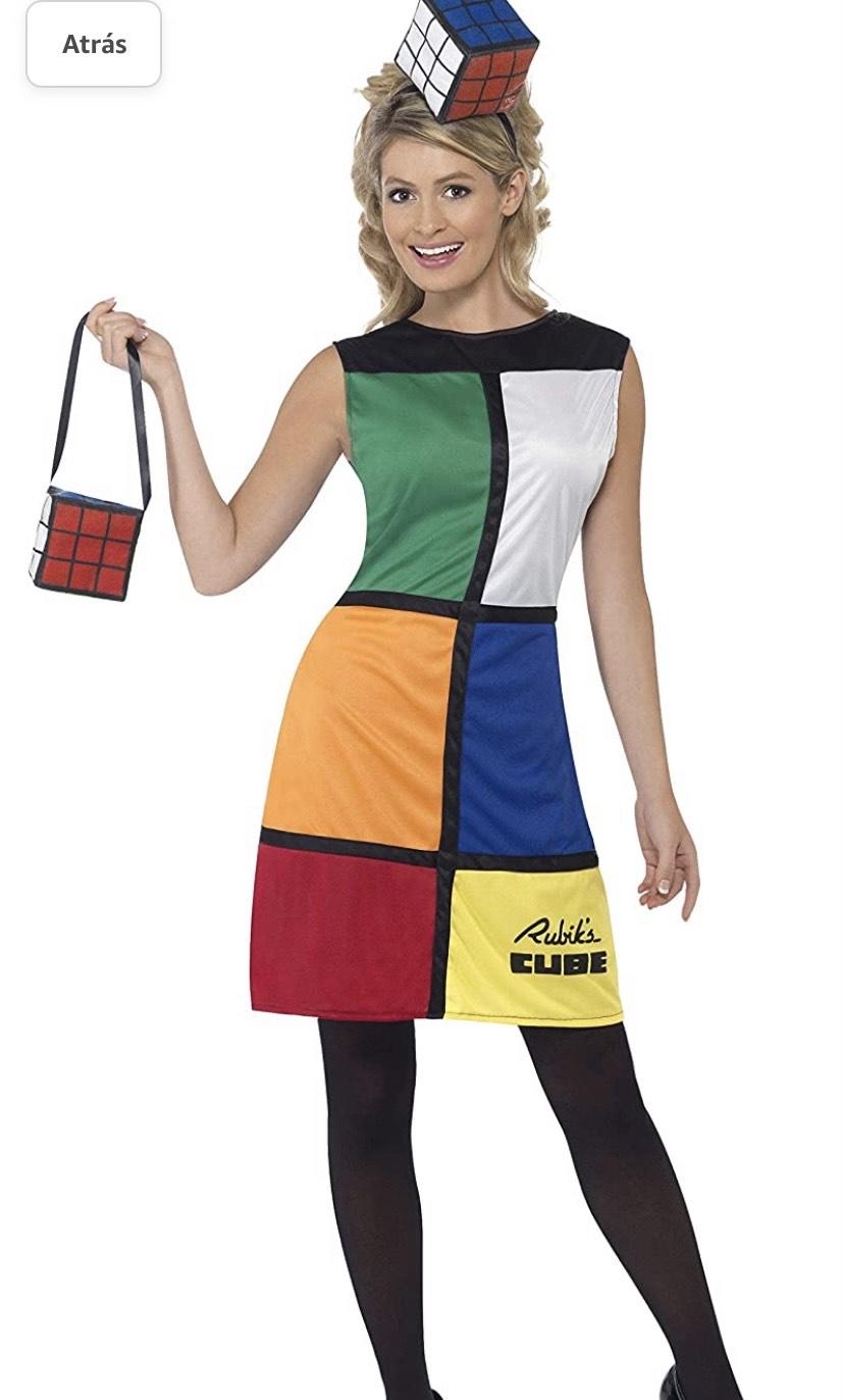 Disfraz del Rubik'S Cube,, Vestido, Diadema y Bolsa,talla 40/42