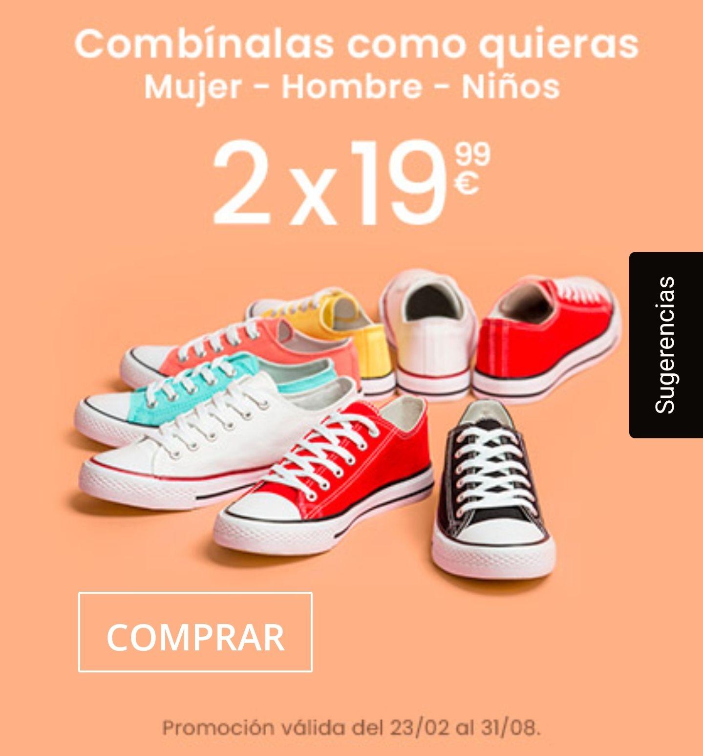 2 pares de zapatillas de lona por 19.99€
