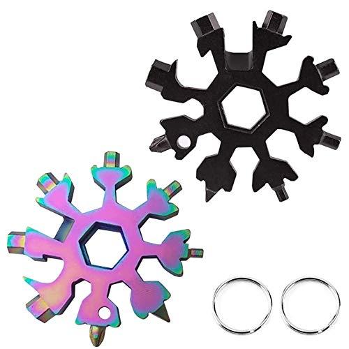 2 piezas multiherramientas (18 en 1) de acero inoxidable + 2 anillos de llavero.