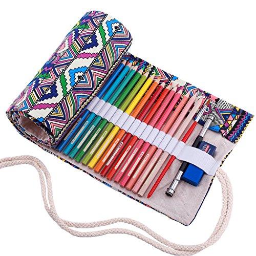 Bolsa de lápiz de Colores, Grande Estuche Enrollable 72 lápices, portalápices de Lona, Rayas de Color bohimia