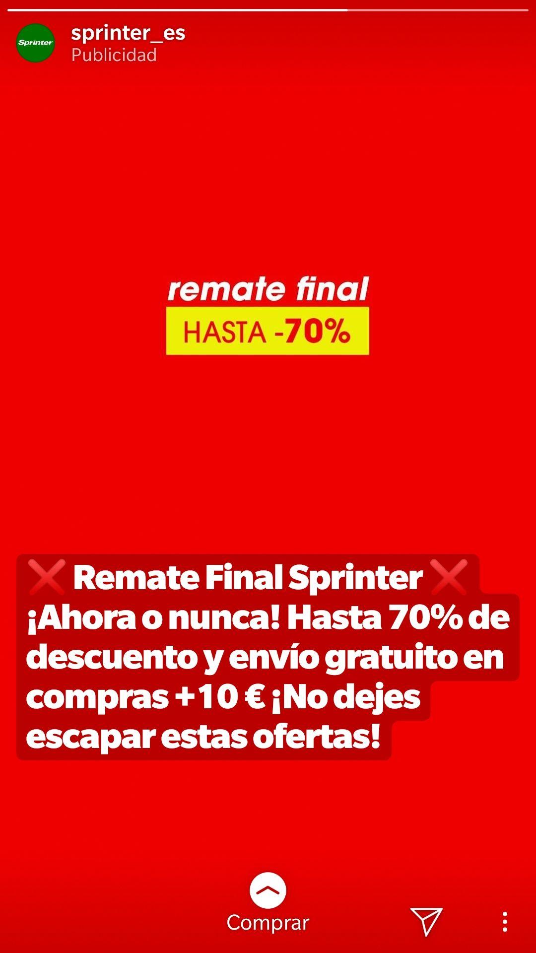 SPRINTER HASTA 70% DESCUENTO