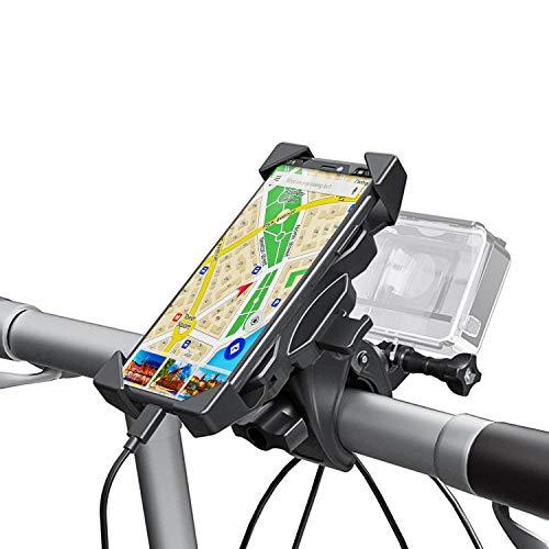 Soporte Movil Gopro [2 In 1], Universal Manillar para Bicicleta y Motocicleta con Rotación 360°, Anti Vibración, (Diámetro 16-60 mm)
