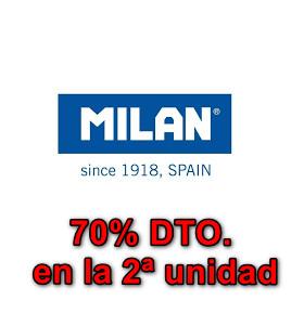 70% Descuento en la 2ª unidad en artículos de papelería MILAN