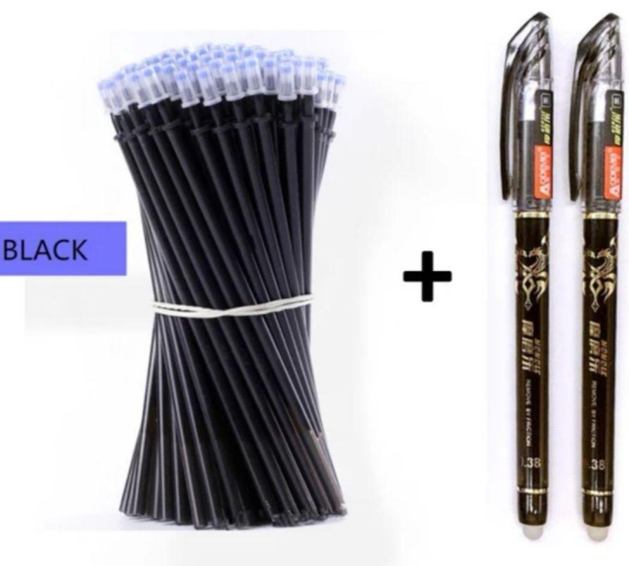 2 Bolígrafos de gel + 50 recambios de tinta borrable (Negro, Rojo o Azúl)