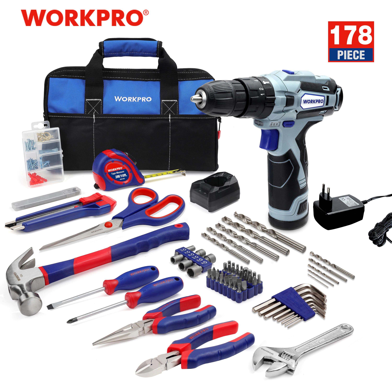 WORKPRO- Herramientas + destornillador eléctrico inalámbrico, 178 piezas
