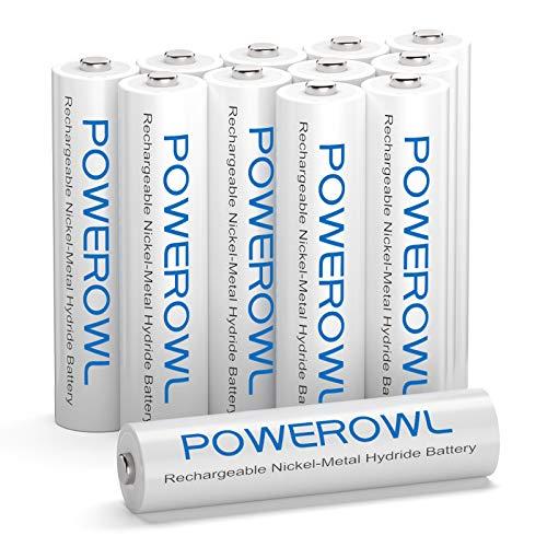 POWEROWL Pilas Recargables AAA Alta Capacidad, 12 Piezas