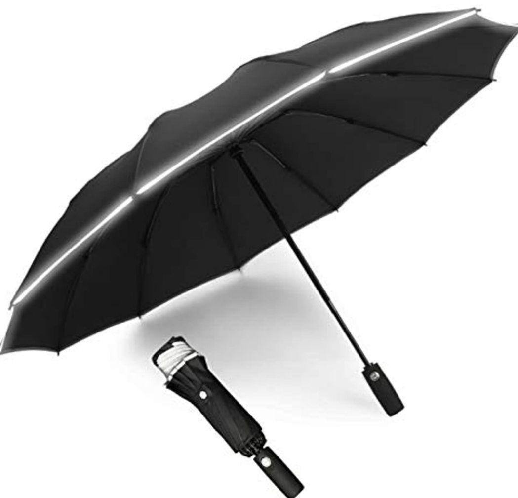 Paraguas Plegable automático con Tira Reflectante y 12 Varillas reforzadas