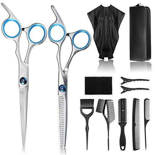 12Pcs de Tijeras de peluquería, Profesional con Capa de Barbero, Peine, Clip y Bolsa