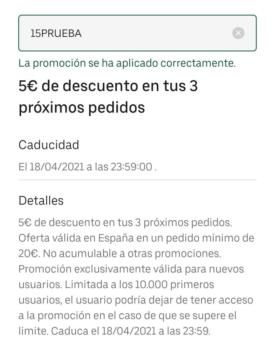 Cupón de 5€ para cuentas seleccionadas