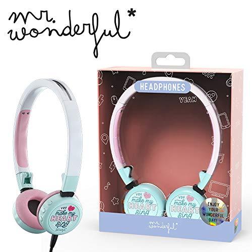 Mr. Wonderful original auriculares on-ear plegables con micrófono incorporado