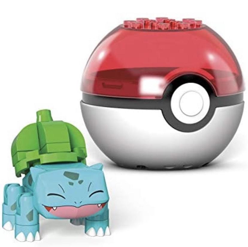 Mega Construx- Pokémon Bulbasaur Poké Ball y Figura para Construir, 30 Piezas