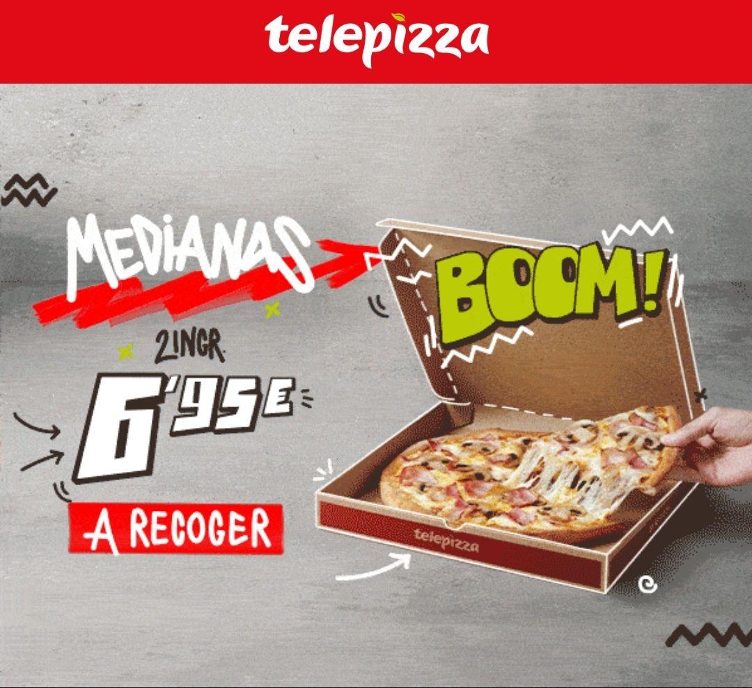 Pizzas medianas de dos ingredientes a recoger y llévatelas por solo 6,95€ cada una
