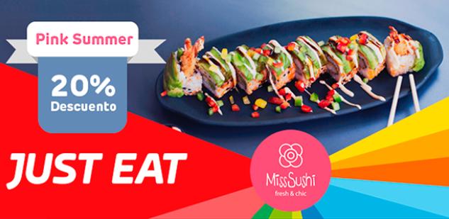 JUST EAT 20% dto. en toda la carta de Miss Sushi [Madrid]