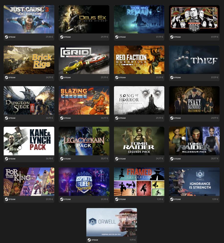 Crea tu Pack de 2,3 o 5 juegos STEAM desde 6,99€ [Metro, Tomb Raider, Just Cause, Sleeping Dogs]