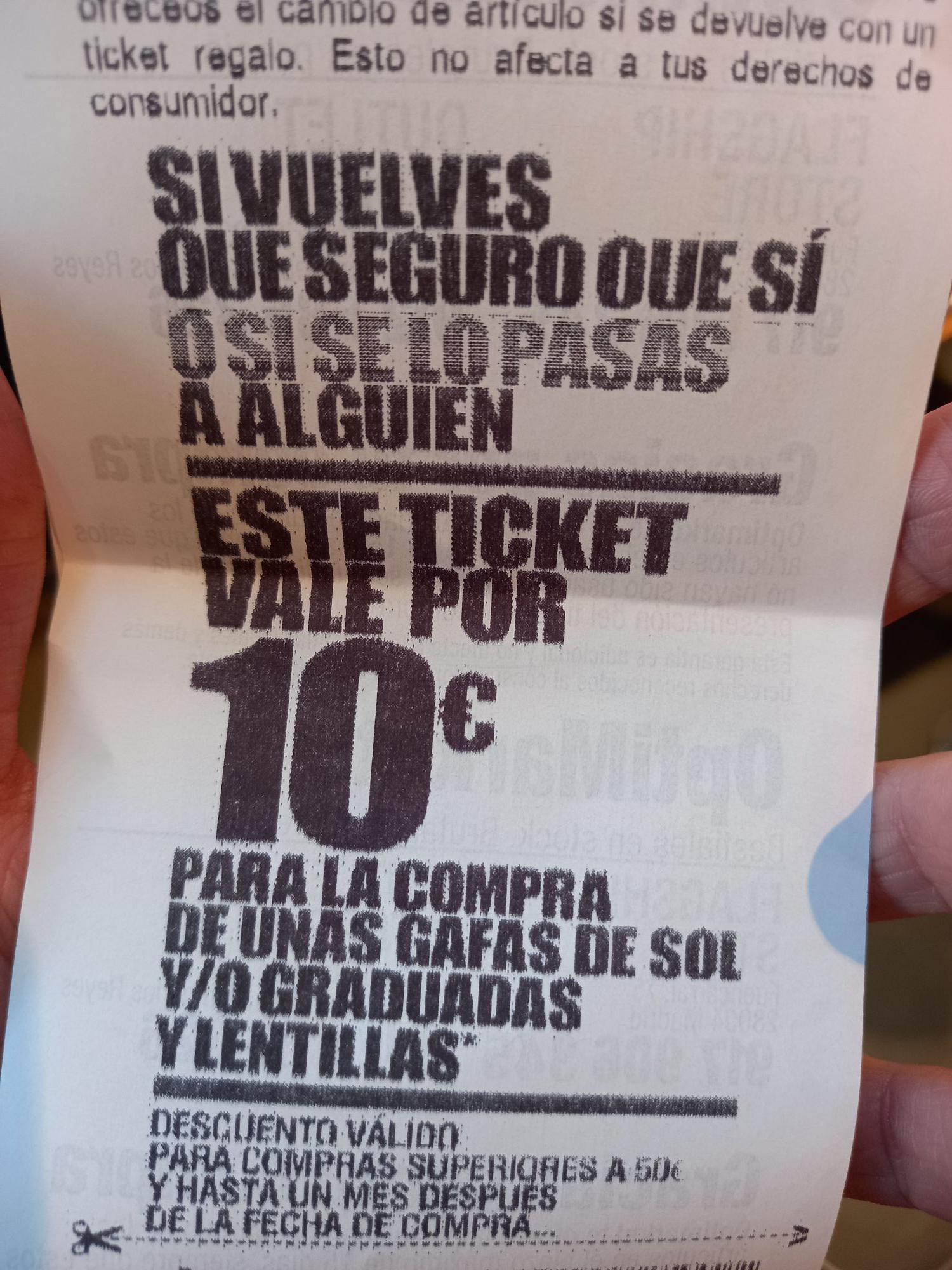 Descuento 10 euros Optimarket para siguiente compra en SS de los Reyes