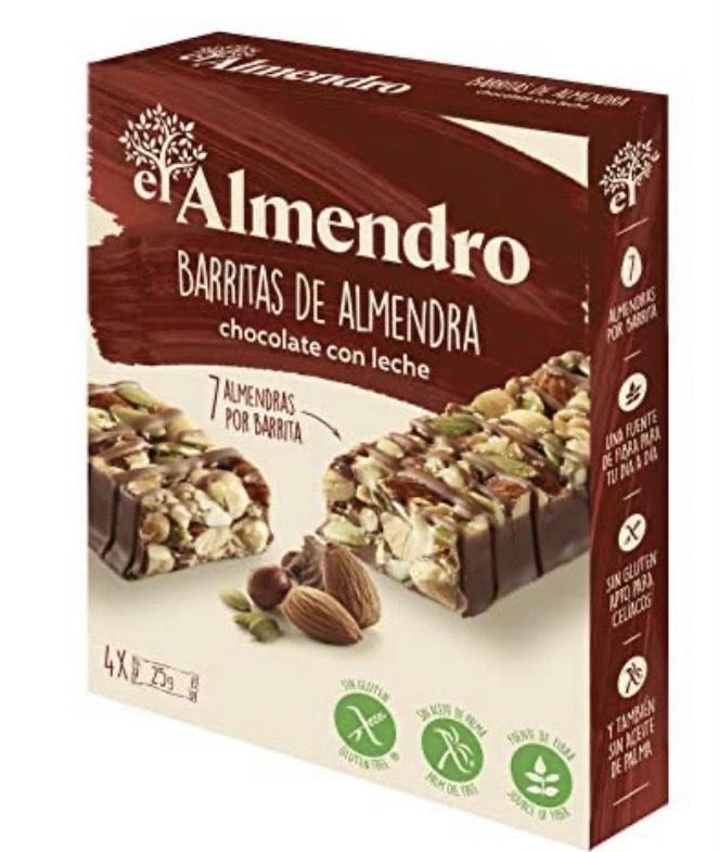El Almendro - Barritas de Almendra y Chocolate con Leche - 4x25 gr - Sin Gluten - Sin Aceite de Palma