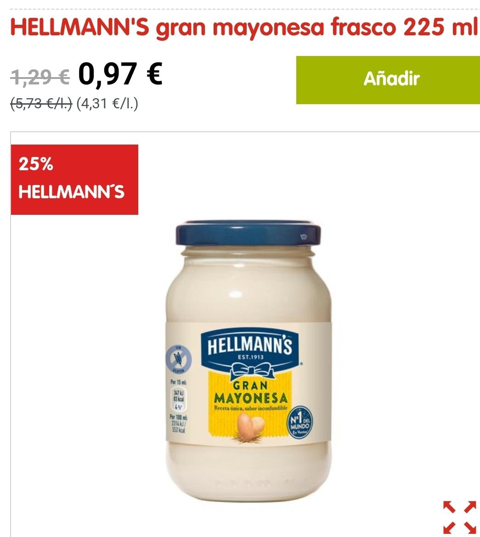 HELLMANN'S gran mayonesa frasco 225 ml